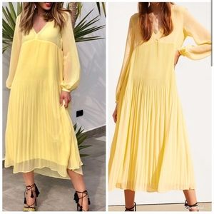 NWT Zara pleated flowy yellow maxi midi dress Sz M